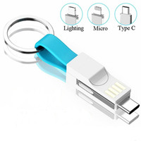Wholesale charging cable key online – Multi Function in USB Cable For iPhone Type C Micro USB Charging Cable Key Chain Portable Charging Sync Data Cord Charger