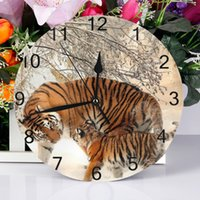 Wholesale tiger electronics resale online - 25cm Round Wall Clock Numeral Digital Dial Mute tiger Silent non ticking electronic wall clock Battery Operated Clocks