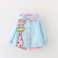 Wholesale baby canvas prints resale online - Baby Girl Warm Autumn Coat Jackets Toddler Girl Cute Cartoon Giraffe Printed Outerwear Clothes