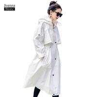 tranchée à capuchon blanc achat en gros de-Trench-coat pour femmes blanc, plus la taille des manteaux longs vintage élégant outwear printemps automne vêtements de bureau décontractés trench-coat à capuche