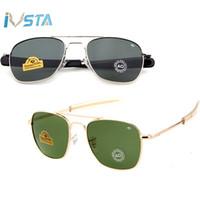 óculos de sol homens venda por atacado-IVSTA Piloto Óculos De Sol Dos Homens Do Exército Americano Marca Militar Condução AO Óculos de Sol Para Lentes de Vidro Masculino Liga CE FDA