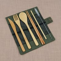 Wholesale Reusable Tableware Set Outdoor Kitchen Supplies Portable Bamboo Knife Fork Chopsticks Straw Mini Brushs Bag Packaging xy hh