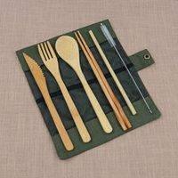 ingrosso imballaggio per cannucce-Set di posate riutilizzabili Forniture per la cucina all'aperto Coltello di bambù portatile Forchette per bacchette Paglia Mini spazzole Borsa per imballaggio 15 5xy hh