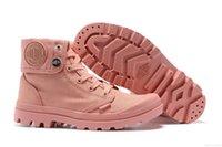 женские верхние ботинки холстины оптовых-Palladium High-Top Холст Обувь Palladium Ботильоны Тренеры Розовые Повседневная Обувь Для Женщин 2019 Последний Стиль
