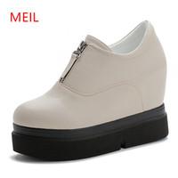 cuñas 12cm tacón al por mayor-12 CM Super High Heel Wedge zapatos de mujer Zapatillas de deporte Plataforma 2019 Otoño Primavera Mujer Zapatos Casual Cuña Muffin Sneakers