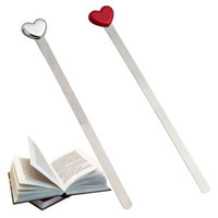 Wholesale bookmark designs for sale - Group buy Fashion Simple Design Red Sliver Love Heart Metal Bookmarks Creative Beautiful High Quality Bookmark Gift