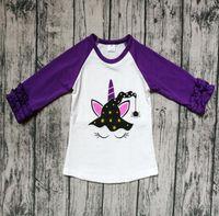 encaje infantil naranja al por mayor-La camiseta de los niños de Halloween de la impresión negra púrpura de la impresión del bebé del bebé solo T-cordón de manga larga camiseta de la calabaza ENVÍO LIBRE