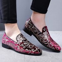 Wholesale china new casual shoes resale online - Shoes men loafers mixed colors casual shoes embroidery new arrival plus size china style autumn shoes tenis
