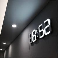 nachtuhr geführt großhandel-Modernes Design 3D LED Wanduhr Moderne Digital Wecker Display Home Wohnzimmer Büro Tisch Schreibtisch Nacht Wanduhr Display
