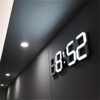 ingrosso sveglia notturna-Moderno design 3D LED orologio da parete moderna digitale Sveglie Display Casa Soggiorno Ufficio Tavolo Scrivania Orologio da parete di notte