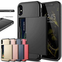 Wholesale business card iphone case for sale – best Business Phone Cases For iPhone X XS Max XR Case Slide Armor Wallet Card Slots Holder Cover for iPhone Plus s