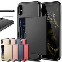 iphone slayt cüzdan toptan satış-İş Telefonu Kılıfları iPhone X XS Max XR Durumda Slayt Zırh Cüzdan Kart Yuvaları Tutucu Kapak iphone 7 8 Artı 6 6 s