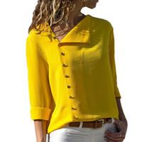 blusa de escritório amarelo venda por atacado-Verão Moda Botão Amarelo Camisa Branca Mulheres Tops de Manga Longa Blusas Túnica Escritório Chemise Para Roupas Feminin