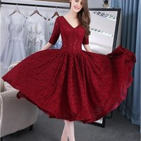 Wholesale best tea lights for sale - Group buy 2019 New Best Sale Cheap Half Sleeve V Neck New Arrival Burgundy Ball Gown Prom Dresses Lace Tea Length Evening Gowns Vestido de Festa