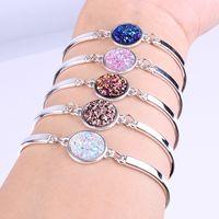 Wholesale sparkle bead bracelets for sale - Group buy 1PC Fashion Nature Stone Bracelet Big Druzy Stone Bezel Setting Large Tone Jewelry Sparkling Handmade Femme Bracelets