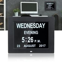 Calendrier Digital.8 Pouces Digital Alarm Clock Abs Led Calendrier Mural Heure Affichage Date Horloges De Table Dc 5v 1a Adaptateur Ue Pour Les Personnes Agees Perte De