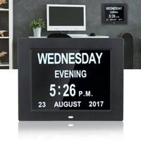 led reloj dc al por mayor-Despertador digital de 8 pulgadas ABS LED Calendario de pared Hora Fecha Pantalla de reloj Relojes de mesa DC 5V 1A Adaptador de la UE para personas mayores Pérdida de memoria Personas