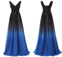 ingrosso abiti colore blu reale-Real Image 2019 Gradient Colour Royal Blue Prom Dresses Chiffon Piano Lunghezza A Line Lace Up Abiti da cerimonia occasionali Occasioni SD341RB