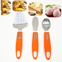 Wholesale cream cheese resale online - Eco Friendly Stainless Steel Butter Cheese Sandwich Condiment Spreader KnivesCheese Slicer Ice Cream Scoop Non Slip Handle in Package