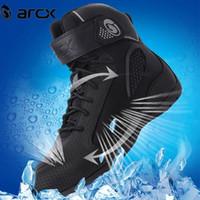 motos de carreras de botas al por mayor-Zapatos ARCX nuevo estilo respirable del verano de la motocicleta botas de malla de la motocicleta de motocross Botas Motociclismo Moto Negro L60625