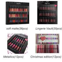 nyx lip lingerie achat en gros de-Dropshipping NYX SOFT MATTE LÈVRES CRÈME 36pcs Lingerie Vault 30pcs Rencontrez le rouge à lèvres liquide 12pcs de Metallics