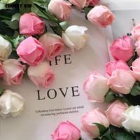 dekoratif gül tomurcukları toptan satış-20 adet / grup! Toptan gerçek dokunmatik keçe çiçekler yapay gül tomurcukları lateks gül düğün dekoratif çiçekler sahte güller