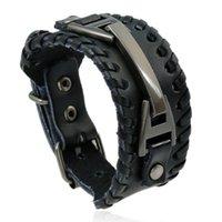 estilo punk metal al por mayor-Punk Vintage Designer Bracelet Metal Leather Alloy Mens Bracelets Business Style Luxury Bracelet Handmade Jewelry Best Quality