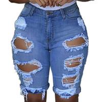 pantalones cortos de mezclilla sexy para mujer al por mayor-Pantalones cortos de mezclilla de las mujeres elásticos destruidos pantalones cortos de mezclilla Pantalones vaqueros rasgados Sexy para mujer Pantalones cortos con agujero elástico 40oc15 Y190429