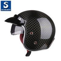 12k fibre de carbone achat en gros de-nouvelle moitié de casque de casque de fibre de carbone moto visage ouvert 12K Prince couverture rétro locomotive pédale quatre saisons