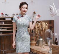 rodilla alta qipao al por mayor-Nuevo vestido retro cheongsam cheongsam de color verde claro de Shanghai mejorado para niñas.