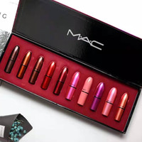 Wholesale lipstick free resale online - MAC lipsticks matte lipstick set high quality female waterproof lipstick Hot sale product Lasting moistening Free postage fast delivery