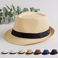 Wholesale girl cowboy hat crochet for sale - Group buy Panama Straw Sun Hat Summer Casual Trendy Straw Hats Fashion Beach Sunshade Hat Boys Girls Cowboy Fedora Cap Vintage Fedora Straw hat CLS556