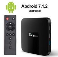 ott quad core tv venda por atacado-2019 Tx3 Mini Android 7.1 OTT TV Box Amlogic S905W Quad Core 2GB 16GB 4K inteligente Transmissão Media Player
