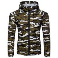 taktische camo jacke großhandel-Camouflage Jacken für Männer Herbst Casual Hoodie Dünne Taktische Jacke Wasserdicht Winddicht Mantel Mit Kapuze Camo Armee Outwear