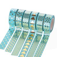 Wholesale patterned scrapbooking paper resale online - 6pcs Adhesive tapes Stickers with pattern Beautiful washi paper DIY Decoration calendar scrapbooking album Gift paper Blue
