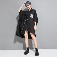 beyaz yarasa kolları bluz toptan satış-Kadınlar Bat Kısa Kollu Büyük Boy Gevşek Siyah Beyaz Baskı Gömlek Elbise Kadın Streetwear Punk Gotik Düzensiz Bluzlar Hırka