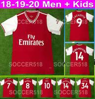 camisa roja al por mayor-arsenal 2019 2020 AUBAMEYANG LACAZETTE 19 20 camisetas de fútbol para niños MKHITARYAN RAMSEY maillot de camisetas de fútbol TORREIRA kit rojo camisa de futebol red soccer jersey