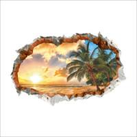 duvarlar için plaj etiketleri toptan satış-3D Kırık Duvar Dekor Sunshine Plaj Duvar Çıkartmaları Çocuk Odaları için Ev Dekor DIY Manzara Poster Duvar Kağıdı PVC Duvar Çıkartmaları