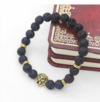 Wholesale buddha head charms resale online - Charm Bracelets pretty Antique Gold Plated Buddha Leo Lion Head Bracelet Black Lava Stone Beaded Bracelets For Men Women Pulseras Hombre