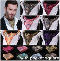 lenço ascot venda por atacado-Paisley Floral 100% Ascot Bolso Quadrado Gravata Jacquard Vestido Cachecóis Laços Woven Partido Ascot Lenço Definido EFA