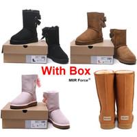 botas al por mayor-Caja con botas de nieve Australia 2019 de la nieve de invierno Niña de cuero clásico de las mujeres clásico marrón rosado negro gris de la manera al por mayor shipping