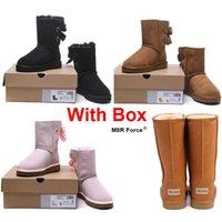 chica de nylon de cuero al por mayor-Con Box Snow boots Australia 2019 Snow Winter Leather girl classic Mujeres classic Maroon pink black grey fashion Wholesale Envío gratis