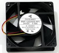 ventiladores de enfriamiento mmf al por mayor-Mitsubishi A740 / F740 ventilador de refrigeración del inversor CA1619H01 MMF-12D24DS-RP1 24V 0.36A 3800rpm 15.32cfm 12038 12CM 4 líneas