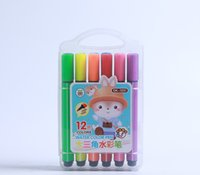 pinselkisten groihandel-12 Farben Factory Direct Kinder Pinsel waschbar Aquarell Stift Kunststoff Box Set Dreieck Aquarell Stift