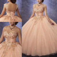 Wholesale blue green girls ball resale online - Sparkling Quinceanera Dresses Ball Gown Sweetheart Neck Line Ruched Bodice With Lace and Beads Detachable Straps Girls Prom Party Gowns