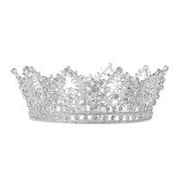 tiara de metal de ouro venda por atacado-Círculo completo de Cristal Rainha Da Noiva jóias de cabelo Diadema Do Casamento Da Dama De Honra Do Cabelo Acessório De Luxo De Ouro De Ouro Tiara e Coroa