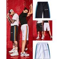 pantalones cortos de arco iris de las mujeres al por mayor-Nuevo llegado Verano estilo Palm Angels Shorts mujeres hombres alta calidad Streetwear Plaid Palm Angels Rainbow Striped Shorts