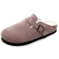 puntera de algodón cubre a las mujeres al por mayor-Felpa del invierno zapatos de punta cubierta de la moda caliente de las mujeres negro peludo zapatillas piel de la mujer mulas zapatos de las señoras del hogar del algodón EU35-42
