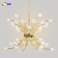 Wholesale clear glass crystal pendant for sale - Group buy FUMAT Gold Glass Flower K9 Crystal Stainess Steel LED Pendant Lighting Luxury Minimalist Personality Lustres Clear Crystal Lamp
