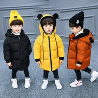 Wholesale kids yellow winter jacket resale online - Binhbet Children Jackets Boys Girls Winter Coat Baby Thick Winter Coat Kids Warm Outerwear Hooded Coat Snowsuit Overcoat Clothes T190921